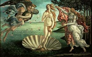 Venus födelse målad 1485 av Sandro Botticelli